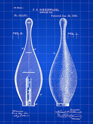 Bowling Pin Patent 1895 - Blue Print by Stephen Younts