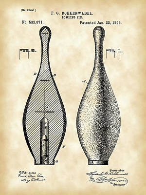 Bowling Pin Patent 1895 - Vintage Print by Stephen Younts