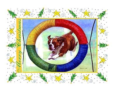 Boxer Dog Christmas Art Print by Olde Time  Mercantile