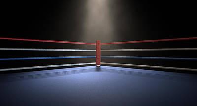 Fight Digital Art - Boxing Corner Spotlit Dark by Allan Swart