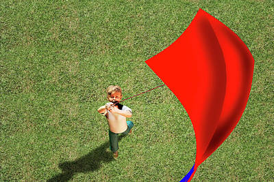 Boy Flying A Kite Art Print by Carol & Mike Werner