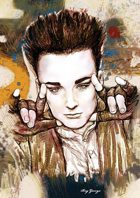 Boy George Drawing - Boy George Stylised Drawing Art Poster by Kim Wang