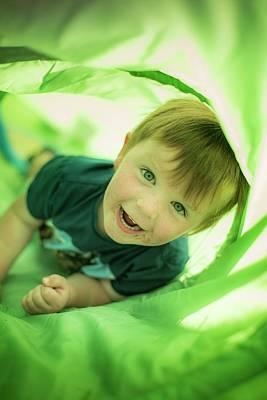 Boy In Green Tunnel Art Print by Samuel Ashfield