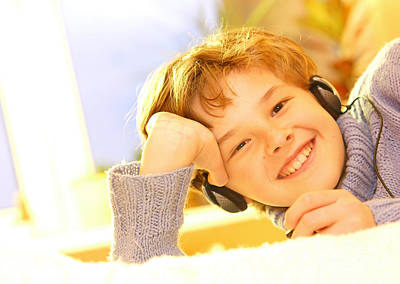 Studying Photograph - Boy Listen To Music by Michal Bednarek