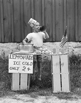 Photograph - Boy Selling Lemonade, C.1930-40s by H Armstrong Roberts and ClassicStock