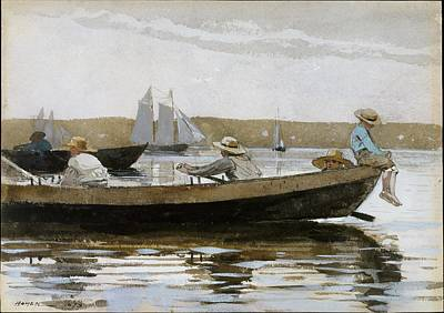 Fishing In Stream Painting - Boys In A Dory by Celestial Images
