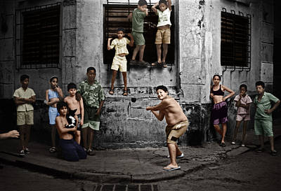 Photograph - Boys Playing Stickball Havana Cuba 1999 by Celestial Images