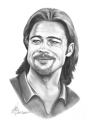 Famous People Drawing - Brad Pitt by Murphy Elliott