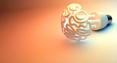 Brain Flourescent Light Bulb Art Print by Allan Swart