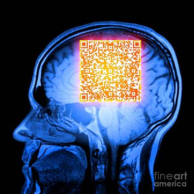 Matrix Code Photograph - Brain Mri Scan With Alzheimers Qr Code by Pasieka