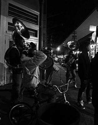 Sousaphone Wall Art - Photograph - Brass Band By Night In New Orleans by Louis Maistros