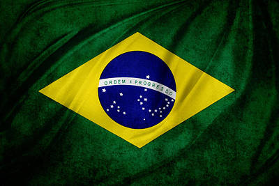 Brazilian Flag Art Print by Les Cunliffe