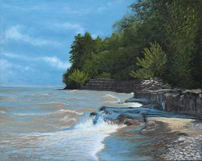 Niagara On The Lake Painting - Breakwall On The Shore Of Lake Ontario by Ken Messinger-Rapport