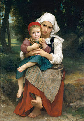 Brotherly Love Painting - Breton Brother And Sister by William-Adolphe Bouguereau