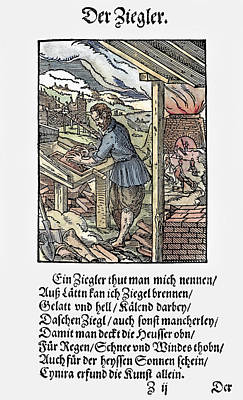 Furnace Painting - Brickmaker, 1568 by Granger