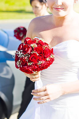 Bride Holding Red Rose Flower Bunch Print by Jorgo Photography - Wall Art Gallery