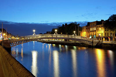 Hapenny Photograph - Bridge Across A River, Hapenny Bridge by Panoramic Images