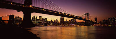 Evening Scenes Photograph - Bridge Across The River, Manhattan by Panoramic Images