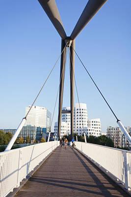 Bridge With Neuer Zollhof Buildings Art Print
