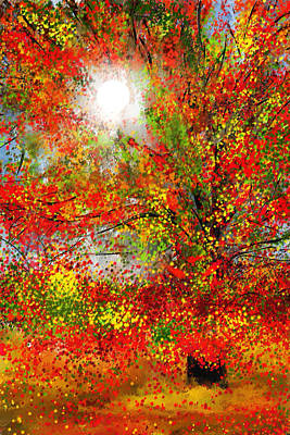 Maple Leaf Art Painting - Brighter Day by Lourry Legarde
