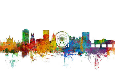 Great Digital Art - Brighton England Skyline by Michael Tompsett