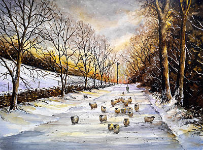 Winter Scenes Painting - Bringing Home The Sheep by Andrew Read