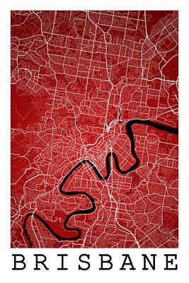 City Map Digital Art - Brisbane Street Map - Brisbane Australia Road Map Art On Colored by Jurq Studio