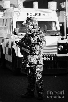 British Army Soldier With Mp5 On Crumlin Road At Ardoyne Shops Belfast 12th July Art Print by Joe Fox