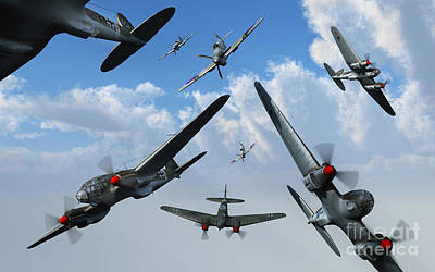British Supermarine Spitfires Attacking Art Print by Mark Stevenson
