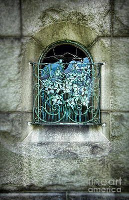 Floral Vintage Window Photograph - Broken Stained Glass Window by Jill Battaglia