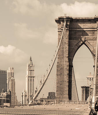 Brooklyn Bridge And Woolworth Building Art Print