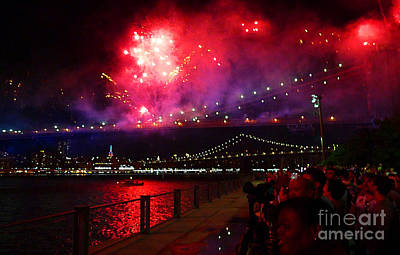 Photograph - Brooklyn Bridge Fireworks by Kendall Eutemey
