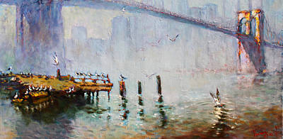 Seagull Wall Art - Painting - Brooklyn Bridge In A Foggy Morning   by Ylli Haruni