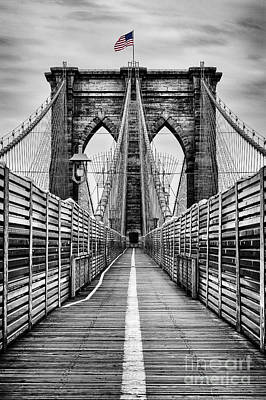 Star Spangled Banner Photograph - Brooklyn Bridge by John Farnan