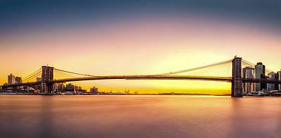 Photograph - Brooklyn Bridge Panorama At Sunset by Mihai Andritoiu