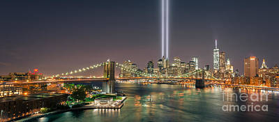 911 Memorial Photograph - Brooklyn Bridge September 11 by Michael Ver Sprill