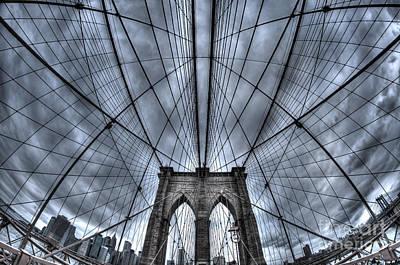 William Penn Photograph - Brooklyn Bridge Symmetry by Mark Ayzenberg