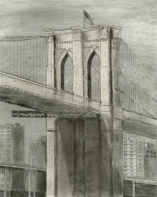 Brooklyn Bridge Drawing - Brooklyn Gothic by Carl Frankel