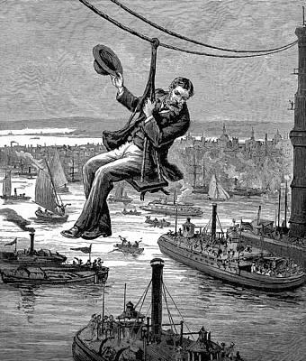 Wood Engraving Photograph - Brooklyn Suspension Bridge by Universal History Archive/uig