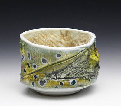 Ceramic Art - Brown Trout Yunomi  by Mark Chuck