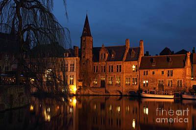 Bruges Rozenhoedkaai Night Scene Art Print by Kiril Stanchev