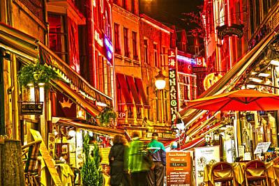 Brussels Street With Restaurants Rue Des Bouchers Art Print by Jean Schweitzer