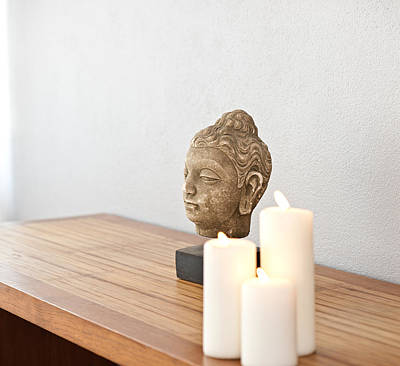 Photograph - Buddha Head In Front Of A Grey Wall by Ulrich Schade