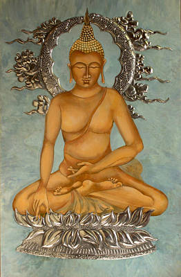 Egg Tempera Painting - Buddha by Mary jane Miller