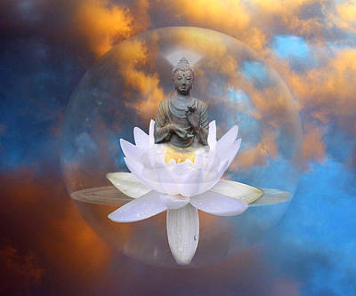 Reflexions Digital Art - Buddha Meditation by Gill Piper