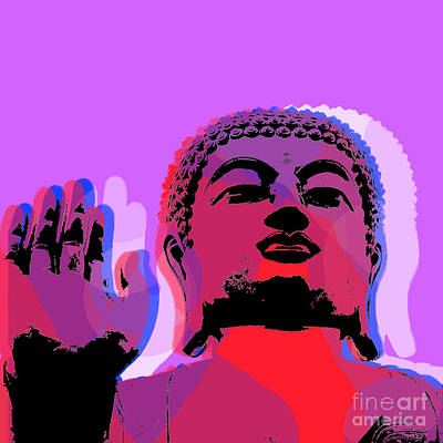 Art Print featuring the digital art Buddha Pop Art - Warhol Style by Jean luc Comperat