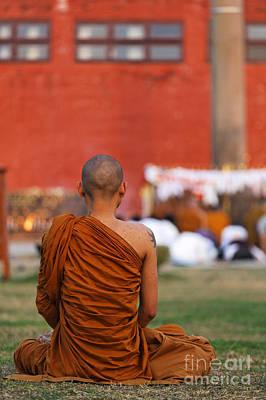 Buddhist Monk At Lumbini In Nepal Art Print by Robert Preston