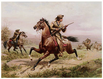 Mauer Painting - Buffalo Bill Fighting Indians by Louis Maurer