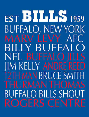 Subway Art Digital Art - Buffalo Bills by Jaime Friedman