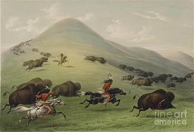 Horseman Painting - Buffalo Hunt by Celestial Images